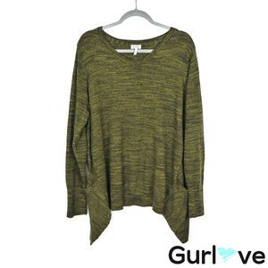 LOGO XL Green Hi Low V Neck Tunic Pullover Sweater